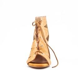 Sandalia de tacón encaje de ante para mujer