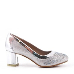Girl's glitter heel pump