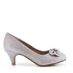 Heeled pump with bow for girl