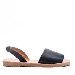 Sandalias planas en piel sintética para mujer