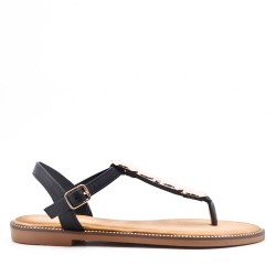 Flat sandals in faux leather for women