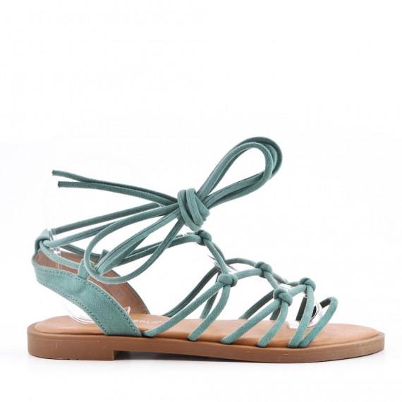 GROSSISTE CHAUSSURE - Sandale plat en simili cuir à lacet