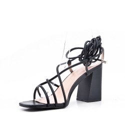 Faux leather heeled lace sandal for women