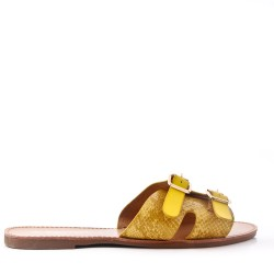 Large size-Slipper in mixed materials for women