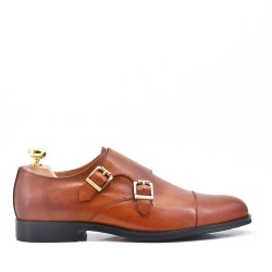 Cognac Derby with leather lace