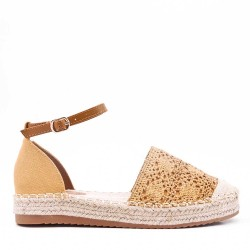 Faux Suede espadrilles in material mix for women