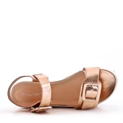Women's faux leather wedge sandal