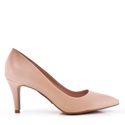 Women's faux leather heeled pumps