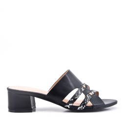 Faux leather mid-heel sandal