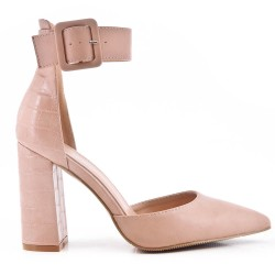 Pointed heeled sandal in faux leather