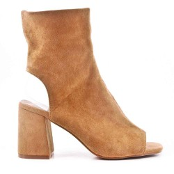 Santiag heeled sandal in faux suede for women