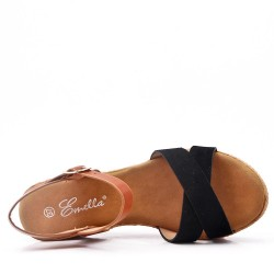 Faux suede wedge sandal for women