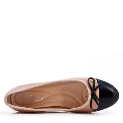 Zapatos de salón beige con tacones en piel sintética para mujer