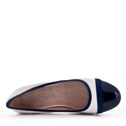 Navy faux leather heeled pumps for women