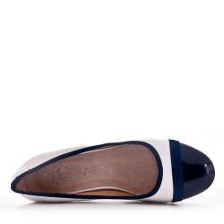Zapatos de tacón de piel sintética azul marino para mujer