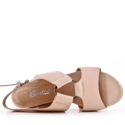 Beige sandal with faux leather heel