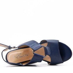Navy faux leather heeled sandal