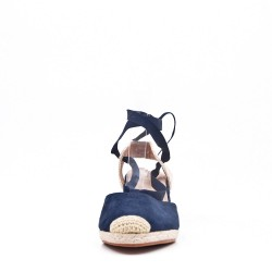 Navy suede lace-up sandal for women