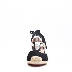 Black suede lace-up sandal for women