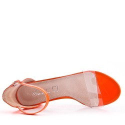 Orange faux leather heeled sandal