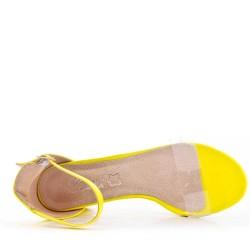 Yellow leather heeled sandal