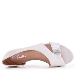 Ballerine blanc confort en simili cuir