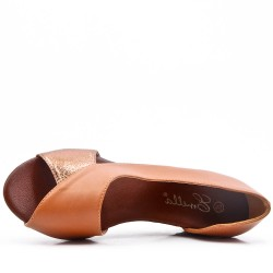 Camel wedge sandal in faux leather for women