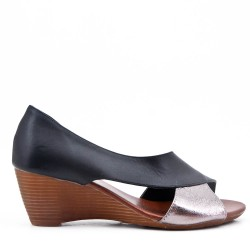 Black faux leather wedge sandal for women