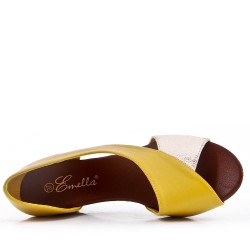 Yellow faux leather wedge sandal for women