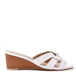 Beige wedge sandal in imitation leather for women