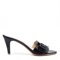 Large size 39-43 - Navy faux leather wedge sandal for women