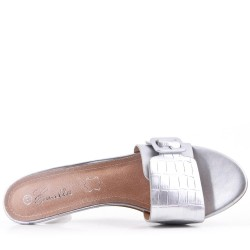 Large size 39-43 - Silver faux leather heel sandal for women