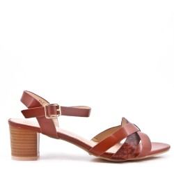 Large size 39-43 - Golden leather heel sandal for women