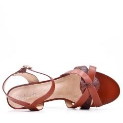 Large size 39-43 - Camel leather heel sandal for women