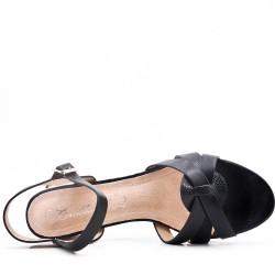 Large size 39-43 - Black leather heel sandal for women