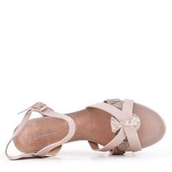 Large size 39-43 - Beige leather heel sandal for women