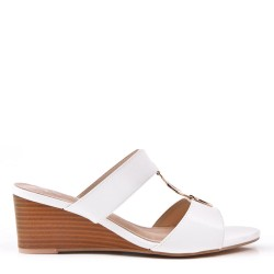 Large size 39-43 - Beige wedge sandal in imitation leather for women