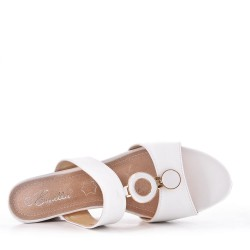Large size 39-43 - White faux leather wedge sandal for women