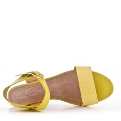 Large size 39-43 - Yellow faux leather wedge sandal for women