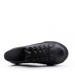 Basket noir enfant à lacet en simili cuir