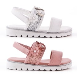 Flat sandal for girl in color mix