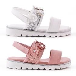 Sandalia plana para niña en mezcla de colores