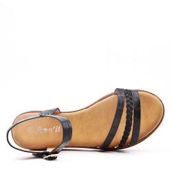 Flat black faux leather sandal for women