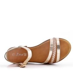 Flat golden sandal in faux leather for women