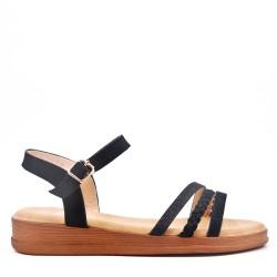 Beige flat faux leather sandal for women