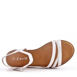 Flat white faux leather sandal for women