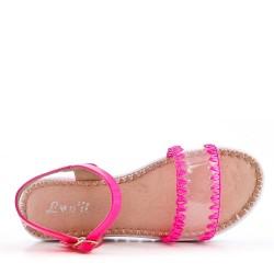 Flat fuchsia faux leather sandal for women