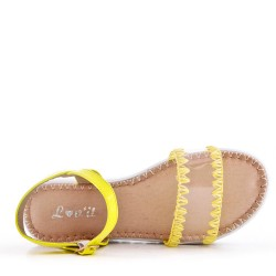 Flat yellow faux leather sandal for women