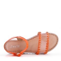 Flat orange faux leather sandal for women