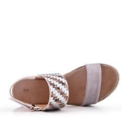 Sandalia de con tacón de cuña en gamuza sintética para mujer